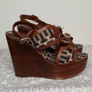 Tory Burch Florian Needlepoint Wedge Size 5.5